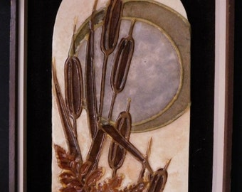 """Handcrafted Artist Signed 3D Mosaic Collage On Marble Titled """"Cattails"""" By Depke Andres. 1975 Library Of Congress Number 903-5 With COA."""