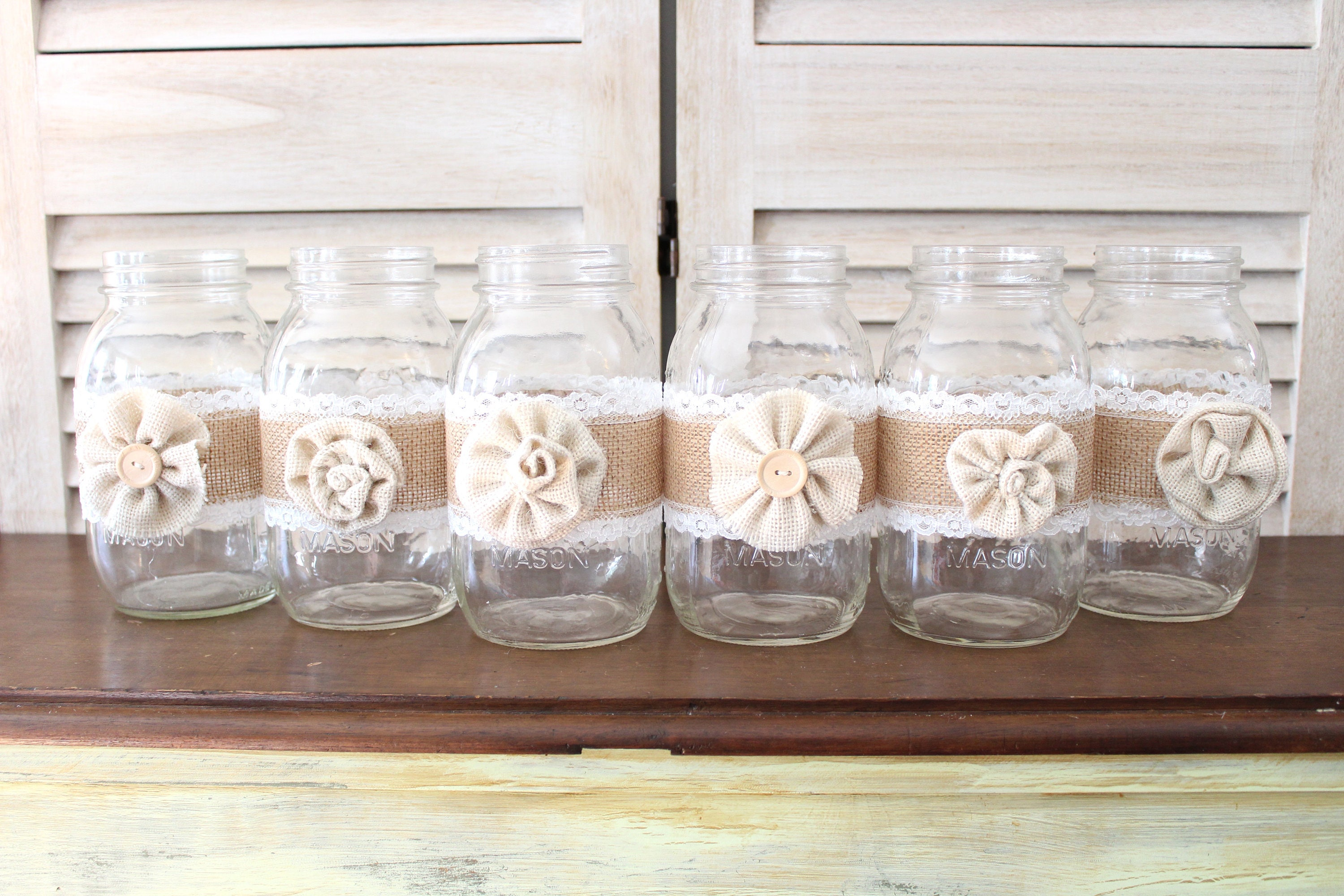 Rustic Country Wedding Centerpieces, burlap mason jar centerpieces ...