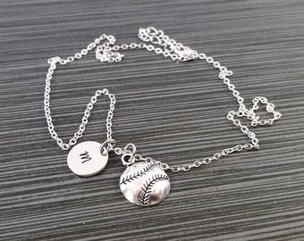 Silver Baseball Necklace - Baseball Charm Necklace - Personalized Necklace - Custom Gift - Sports Necklace - Softball Necklace