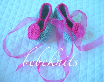 Hand Knit Retro Blue and Bright Pink Baby Ballet Slippers