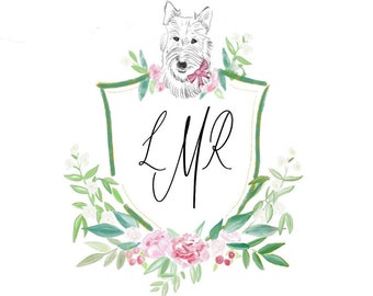 Custom Pet Portrait, Custom Crest, Custom Monogram Stationery, Watercolor Monogram, Pet Stationery, Gift
