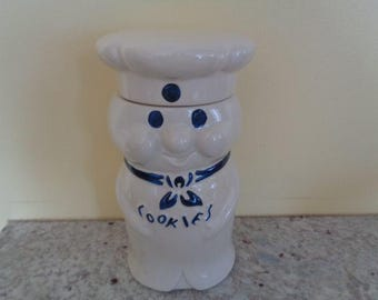 Vintage Advertising Pillsbury Dough Boy Poppin Fresh Baker Cook Chef Cookie Jar