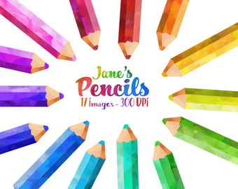 Watercolor Colored Pencils Clipart - School Items Download - Instant Download - Watercolor Rainbow Pencils