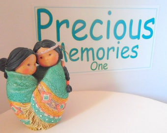 Love for many Moons, 1994 Friends of a feather figurine. Native american girls, Enesco figurine, Collectible knick knacks, Southwestern