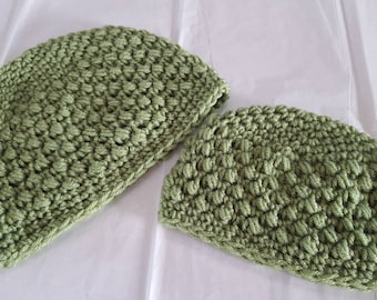 Olive Lime Green Crocheted Parent and Child Winter Hat Set