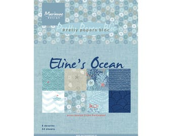 Block printed scrapbooking paper, Eline's ocean theme ocean from MARIANNE DESIGN - A5 size