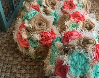 beautiful handmade coral silk, mint silk and natural burlap bouquets(listing is for one bridal bouquet)