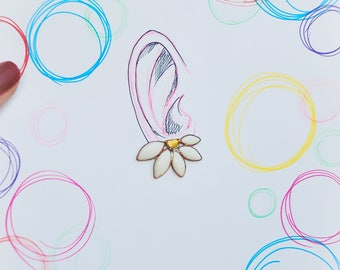 Lotus earrings, Flower earrings, White earrings, Flower studs, Enamel earrings, Lotus jewelry, White flowers.