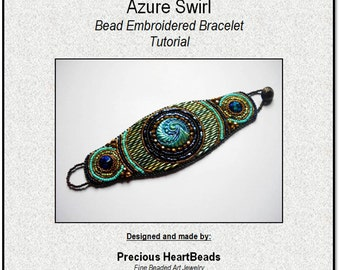 TUTORIAL  (Instructions only) - Bead Embroidery Bracelet Cuff Turquoise Teal Blue