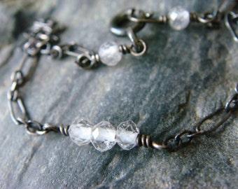 White Topaz Bracelet, Oxidized Silver Bracelet, Boho Sterling Silver Bracelet, Bohemian Oxidized Bracelet, Delicate Silver Bracelet,Handmade