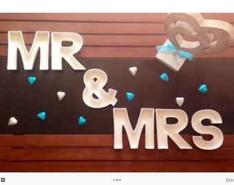 MR & MRS ceramic letter dishes for wedding table or lolly buffet or venue decoration