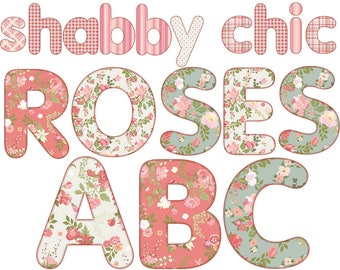 Digital Shabby Chic Roses Alphabet, Vintage Alphabet, Floral Alphabet, Wedding Digital Lettering, Printable Lettering, Instant Download, #40
