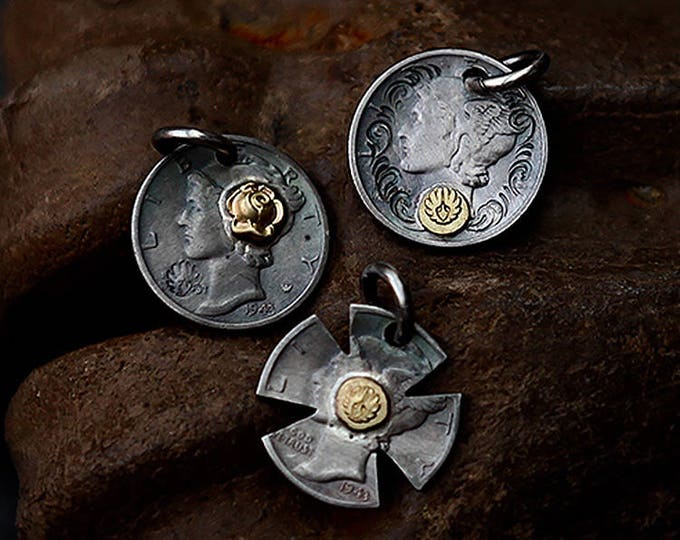 Oxidized Silver Coin Pendant | Vintage Coin Pendant | Authentic Coin Jewelry | 18K Gold Charm | Mercury Dime Pendant | Mens Silver Pendant