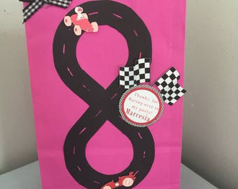 Pink Race Party Favor Bag