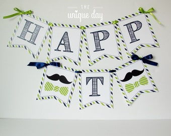Little man banner - mustache banner - printable - personalized - birthday banner - high chair banner for photos - DIY // MUST-05
