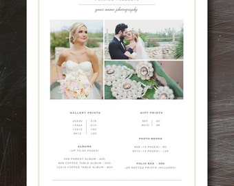 Photography Pricing Template - Photography Marketing - Photography Pricing - Product Price List - Wedding Album Pricing Template