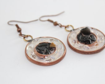Successful and Stunning - Dangling Copper Earrings with Tiger Eye and Clear Quartz for Success in Every Aspect of Life