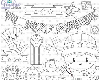 4th of July Stamp, COMMERCIAL USE, Digi Stamp, 4th of July Digistamp, 4th of July Coloring Page, Independence Day Graphic, Stamps