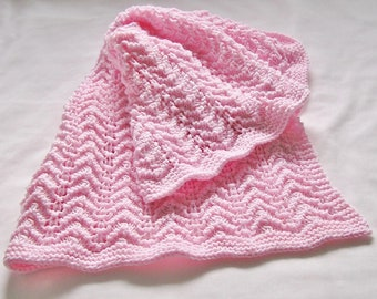 Pink Baby Blanket Afghan, Newborn Wrap, Car Seat or Lap Cover, Hand Knitted Chevron