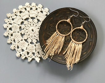 Minimalist Beige Dream Catcher Fringe Earrings - gift for her, gift for teens, boho jewelry