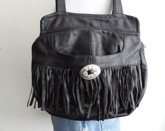 Vintage Mexican Leather Fringed Shoulder Bag Black