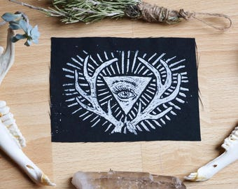 Chalice / Sew-On Patch / Heavy Black Canvas / Hand Printed Linocut