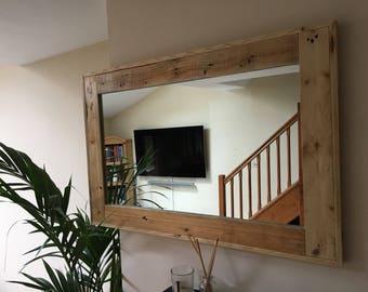 Handmade wooden mirror rustic