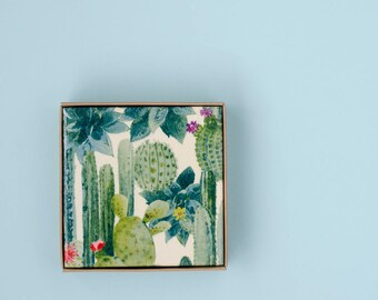Succulent Cactus Garden Coasters Botanical Ceramic Coasters Tile Drink Coasters Green Pantone 2017 Greenery