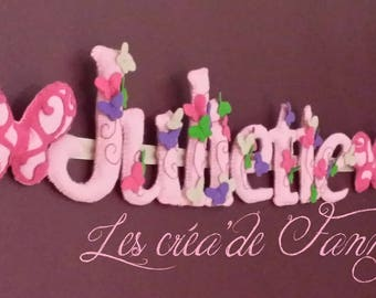 Garland name in felt with Ribbon