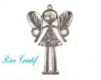 LARGE pendant charm Charm little girl 82mm x 54mm in silvered Metal