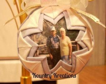 Memory Ornament/In Loving Memory/Keepsake Ornament/Personlized Ornament/Handmade Ornament/Quilted Ornament/MemorialGift/Remembrance Ornament