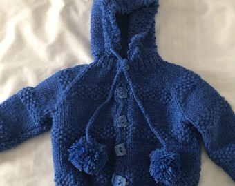 Navy blue hooded sweater, size 1