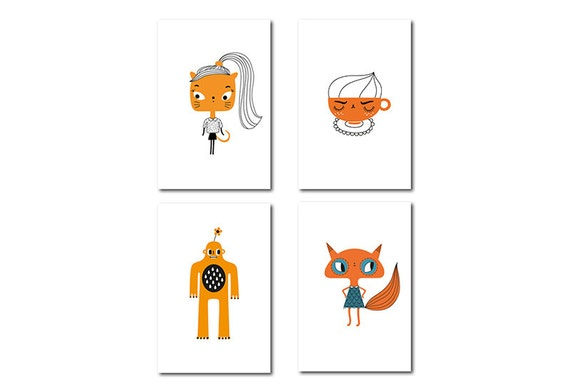 Set of four cute postcards in orange and black - Cappuccino - Cat - Fox - Yeti - kawaii characters - vector illustration