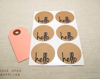 Hello Round Stickers Circle Labels 1.5-inch 30ct Envelope Seals Scrapbook Embellishments