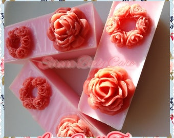 LOVE SPELL TYPE 2oz. Cocoa Butter Skinny Rectangle Soap/Body Bars with Rose Embed on Top