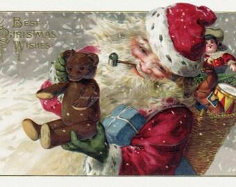 Christmas Santa Card - Santa Claus with Teddy Bear - Christmas Card