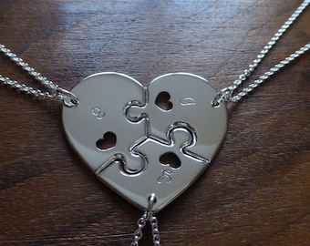 Three Piece Heart Puzzle with Hearts with Initials 2