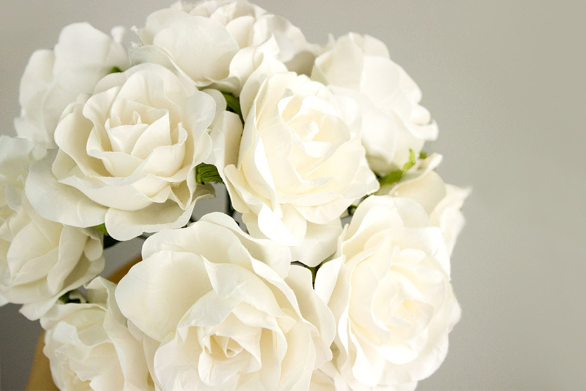 12 Paper Flowers / One Dozen OFF WHITE Roses Artificial