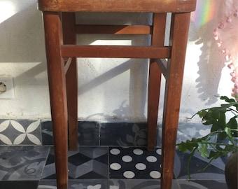 vintage stool blond wood seat red leatherette