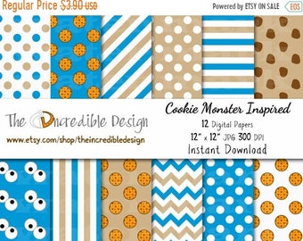ON SALE Cookie Monster Inspired digital paper pack for scrapbooking, Making Cards, Tags and Invitations, Instant Download