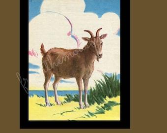 Printable goat image-vintage inspired digital collage-framing-nursery art-scrapbooking-crafts