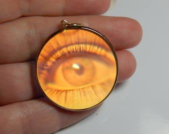 Hologram pendant etsy vintage 9ct yellow gold eye hologram pendant 9k gold hologram pendant hologram vintage mozeypictures Images