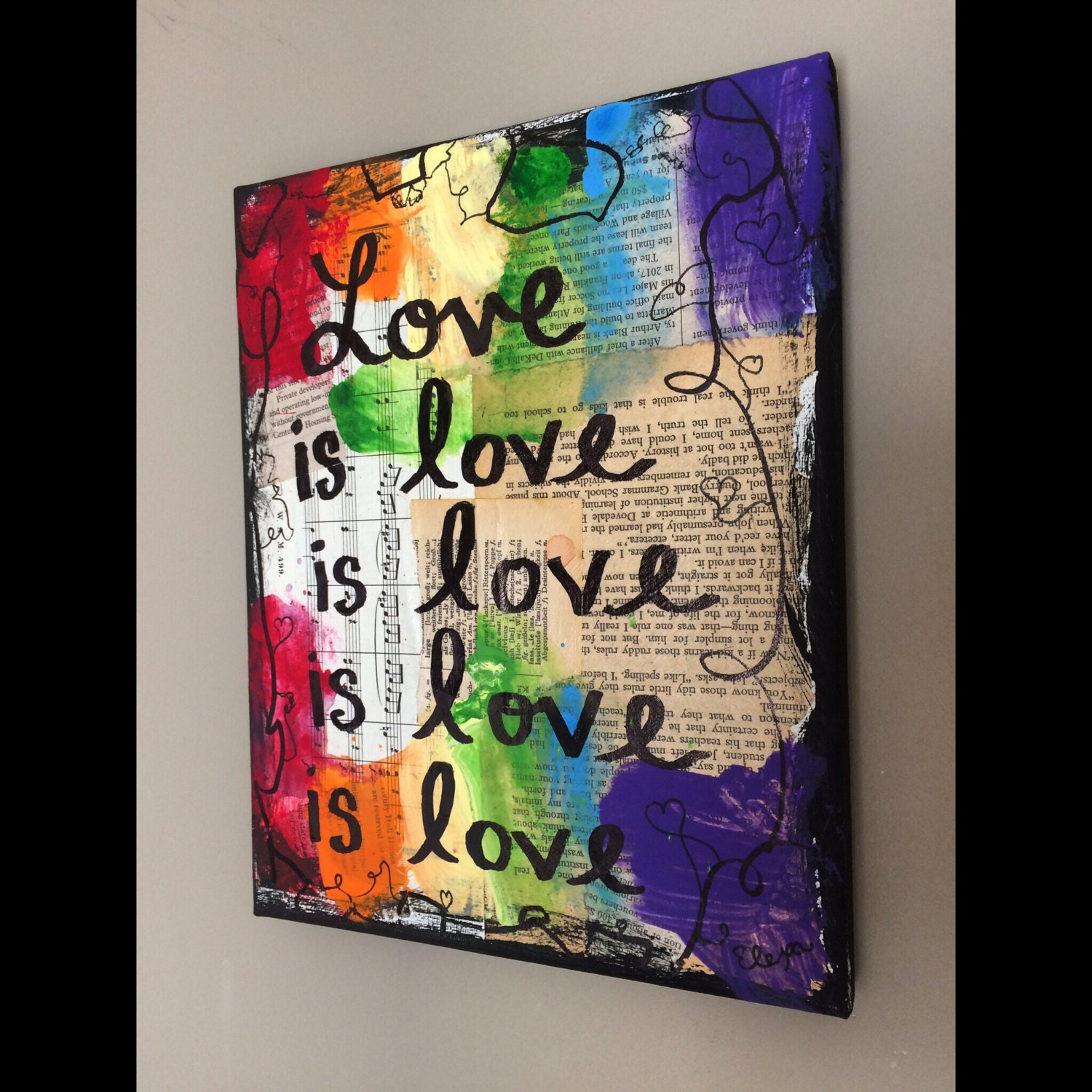 Gay Pride Art Lgbt Love Is Love Music Book Painting Original