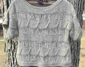 90's grey/gray woven cropped knit/top/blouse size small