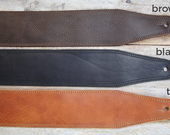 Comfortable Simple Leather Bass Guitar Strap, BS53, Real Full-Grain Natural Leather, Electric bass strap, leather guitar strap