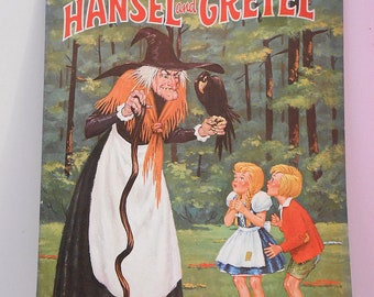 "Vintage Hansel and Gretel Coloring Book, 1940's, Near Mint, 14"" tall, Halloween Witch"