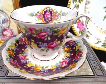 Royal Albert Tea Cup and Saucer Radiance Purple and Roses Teacup Cup & Saucer BR