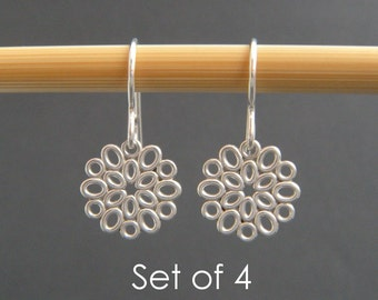bridesmaid earrings: SET OF 4. small silver filigree ovals. sterling silver dangle. flower drop. bridal gifts. wedding jewelry. 1/2""