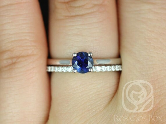 Rosados Box Skinny Flora 0.79cts & Marcelle 14kt White Gold Round Blue Sapphire Classic Diamonds Wedding Set
