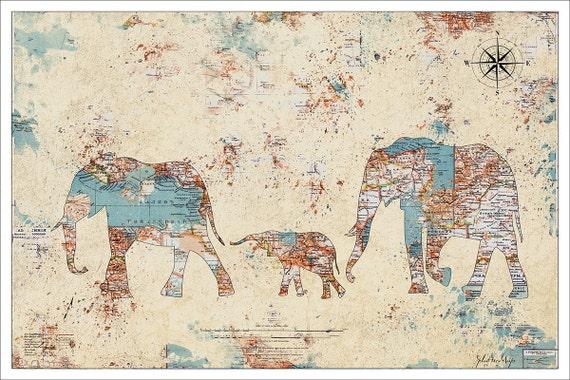 Artculos similares a elephant print elephants splatter map map artculos similares a elephant print elephants splatter map map art vintage map watercolor map map prints world map poster elephants 2 c3 en etsy gumiabroncs Images